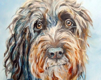 Custom Pet Portrait Oil Painting on canvas, 11 x 14 or 12 x 12 by Artist Robin Zebley