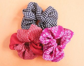 Japanese Kimono fabric Scrunchie - set of 3  -b-