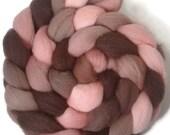 Handpainted Falkland Wool Roving - 4 oz. ROSEWOOD- Spinning Fiber