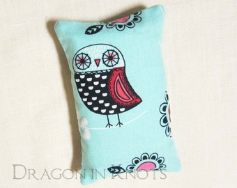 Owl Pocket Tissue Holder - Fabric Tissue Packet Cover - Light Aqua Blue Purse Accessory