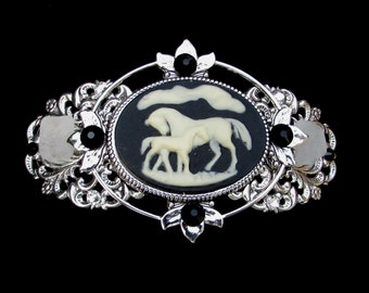 Barrette  Black and Creamy White Arabian Horse Mare and Foal Cameo with Beach Glass and Crystal Accents