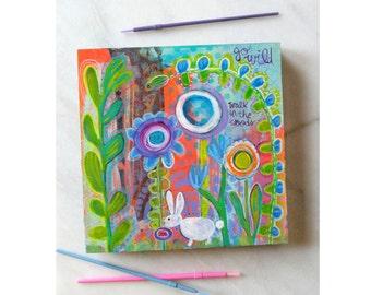 Original painting, art, mixed media painting, nursery decor, painting, folk, mixed media, rabbit, forest, boho, bunny, blooms, decor, art