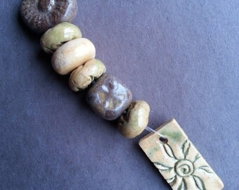 Rectangle Sunburst pendant and mixed bead set Stoneware clay Handmade Ceramic Greens and browns