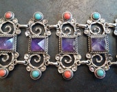 Amazing Handmade Vintage Mexico Stamped Bracelet, Sterling 950, Amethyst, Coral, Turquoise Stones, Wide Cuff Floral.