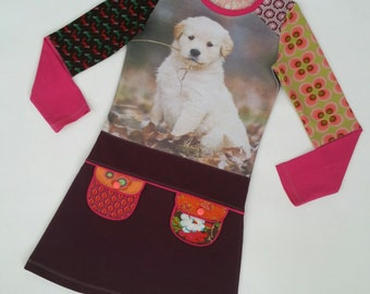 Size 8 (52 3/4 inch height) upcycled girls dress with print dog