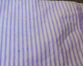 "Lavender Purple and White Striped Ticking Fabric 3.5 yds x 60"" wide"