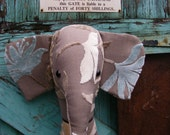 Fabric animal  head. Elephant  trophy head,  wall hanging. Faux  Taxidermy. Shabby chic . Gorgeous fabric. Brown.