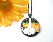 Calico Cat Face Pendant, Cat Necklace, Calico Cat Jewelry, Cat Lover Gift, Kitty Jewelry, handmade polymer clay