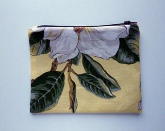Yellow Fabric Floral Zipper Pouch, purse organizer, travel accessory, cord cozy, clutch bag, fabric bag, linen blend, Botanical Print Pouch
