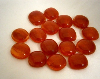 Fused Glass Cabochons, Fused Glass Cabs 16 Orange Red,  Willow Glass