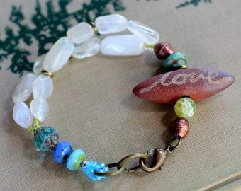 moonstone bracelet multi strand love boho jewelry bohemian gemstone chunky healing bracelet
