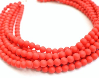 The Michelle- Bright Red Matte Chunky Necklace