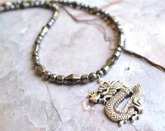 The Ryu- Men's Hematite Dragon Necklace