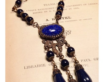 Claudia Long Victorian Inspired Necklace in Lapis Glass