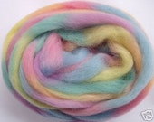 3.5oz, wool roving, finger thick strand, spinning fiber, felting wool, dread wool, wet felting wool, spinning wool, rainbow wool, pastel