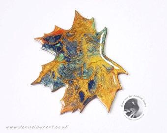 London Plane Leaf Brooch, Plane Leaf Pin, Leaf Jewellery, Gift Box, Fall Leaf Pin, Autumn Leaf Brooch, Wearable Art