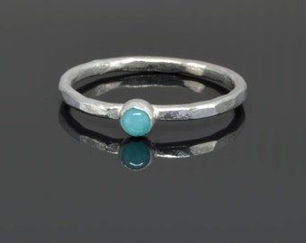 Tiny Amazonite Stone Stacker Ring in Sterling Silver Handmade