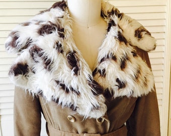 Vintage 70's Double Breasted Spotted Faux Fur Coat