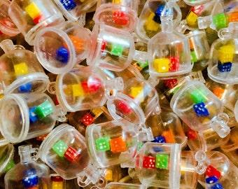 4pcs TINY DICE CHARMS Plastic Toy Hong Kong