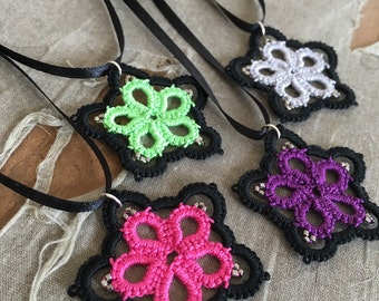 Stained Glass Star - Tatted Pendant - Any Color