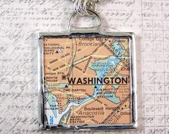 Washington DC Map Double Sided Pendant Necklace