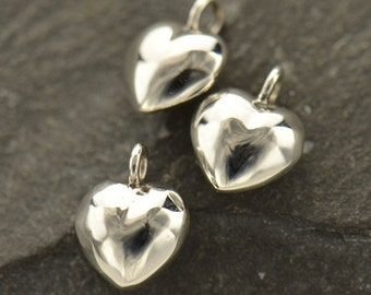 Small sterling silver rounded heart charms, Puffy, puffed heart