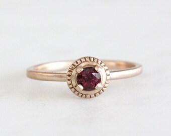 14k milgrain garnet ring, rhodolite garnet, handmade, alternative engagement ring