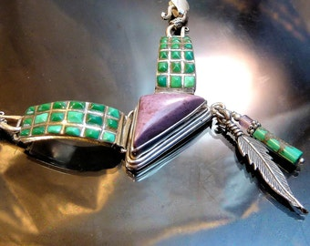 Old Navajo Zuni Turquoise Sugilite in Sterling Silver Necklace with feather Native American Indian Southwestern Jewelry
