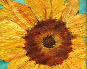 Sunflower on aqua Original  mini painting on Canvas, Easel, acrylic painting of sunflower 3 x 3