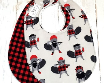 Lumberjack Baby Bibs for Baby Boy  -  Set of 2  Triple Layer Chenille, Buffalo Plaid, Red, Black, Gray  -  BURLY BEAVERS & PLAID