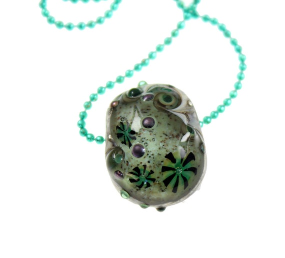 Tide Pool - Sand Sea and Anemones - Lampwork Glass Bead Pendant - Ball Chain Necklace