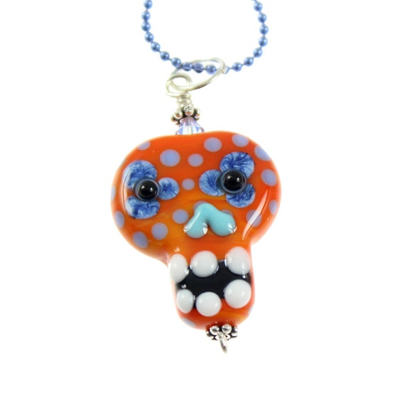 Sugar Skull - Lampwork Glass Bead Day of the Dead Pendant - Ball Chain Necklace