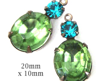 Peridot Green Vintage Glass Beads, Brass Settings, 20mm x 12mm, 12x10mm Oval, Choose Your Color, Glass Gems, Cabochon, Rhinestone, One Pair