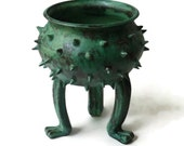 Patina Green Grouchy Planter Pot with Spikes and Sculpted Feet