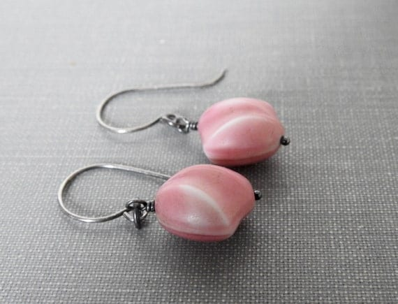 RESERVED for Renee, Pink Glass Earrings, Silver Earrings, Pink Puffy Glass, Vintage Glass Beads, Oxidized Silver, Silver Jewelry,