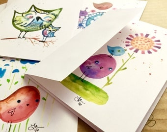Note Cards birds and owl paintings cute whimsical illustration