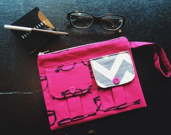 Glasses Fuchsia Wallet Wristlet, Fabric Wallet, Zipper Pouch, 144 Collection