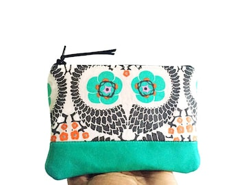 French Twist Small Leather Change Wallet, Coin Purse, Small Fabric Leather Wallet, Change Purse, 144 Collection