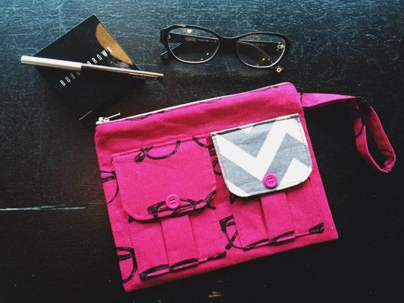 EyeGlasses Pink Wristlet Wallet, iPhone Wallet, Fabric Wristlet, Large Wristlet, Wristlet Purse