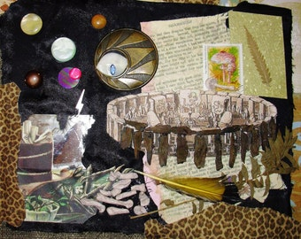 "Assemblage ""Shamanism""  23x28c 9x11""  Framed under glass Folk Art Collage"