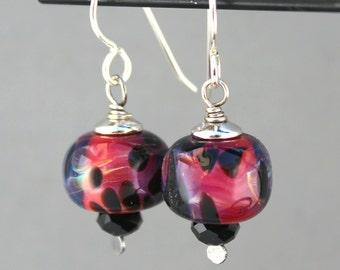 Pink Lampwork Earrings, Pink and Black Earrings, Sterling Silver Earrings, Dangle Earrings