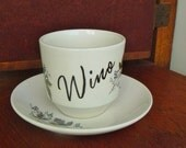 Wino hand painted vintage mid century ceramic cup and saucer set humor recycled boozy cuppa
