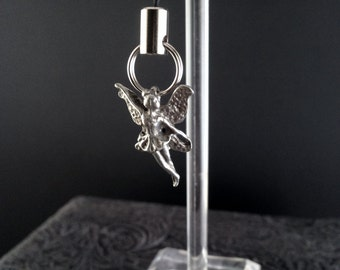 Fairy Lanyard Zipper Pull Charm in Silver Tone Pewter