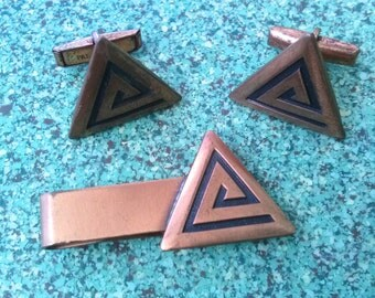 Vintage 1950s Cufflinks Copper Atomic Triangle Modernist MidCentury