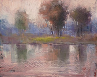 Contemporary Trees and River Simple Original Pastel Painting Karen Margulis
