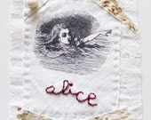 Small art quilt, ALICE, hand stitched