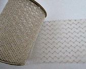 "4 Yards Vintage 4"" Wide Tulle Net Ribbon - Antique White with Gold Glitter - Vintage Craft Supply"