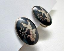 Siam Nielloware Goddess Mekkala Vintage Sterling Screw Style Earrings - Siam Niello Vintage Jewelry