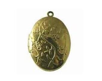 Large Oval Locket, 30mm Brass Locket, Four (4) Gold Leaf Locket, Golden Vine Locket
