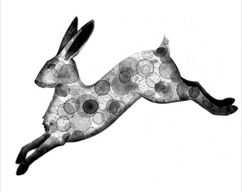 Hare 8X10 print of my original ink painting, animal painting, ink bubble